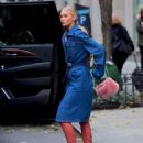 Elsa Hosk in Long Jeans Coat – Out in NYC - 454 x 585