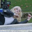 Danielle Panabaker – On the set of 'The Flash' in Vancouver November 7, 2017 - 454 x 302