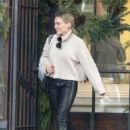 Hilary Duff in Leather Pants – Out for lunch in Beverly Hills