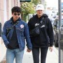 Sophie Turner and Joe Jonas at Alfred Coffee in West Hollywood