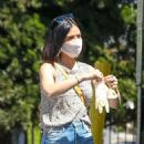Lucy Hale – Wears protective gear while goes for shopping