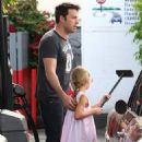 Ben Affleck and Violet stopping for gas in Brentwood (July 23)