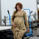 Kelly Reilly on the set of 'Britannia'