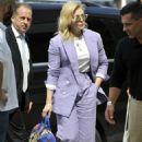 Chloe Moretz in Purple Suit – Arrives in Venice