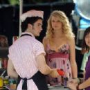 Taylor Swift On The Set Of Jonas Brothers - August 14