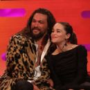 Jason Momoa and Emilia Clarke at the Graham Norton Show in London - 454 x 524