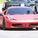 On-again off-again couple Selena Gomez and Justin Bieber seen driving to Selena's home in Calabasas, California on August 17, 2014