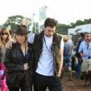 Dakota Johnson, Sam Taylor-Johnson and Aaron Taylor-Johnson at Glastonbury Festival 2014