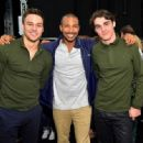 Actor Charles Michael Davis backstage at the Lacoste fashion show during Mercedes-Benz Fashion Week Spring 2015 at The Theatre at Lincoln Center on September 6, 2014 in New York City - 454 x 334