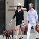 Anne Hathaway In Mini Dress Walking Her Dog In Nyc