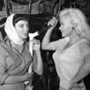 "Joan Collins and Jayne Mansfield on the set of ""The Wayward Bus"", 1957 - 357 x 500"