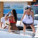 Nicole Scherzinger – Looking Hot in Red Swimsuit on a Boat in Ibiza