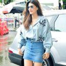 Kriti Sanon in Denim Skirt at Airport in Mumbai - 454 x 792