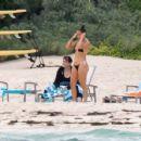 Jennifer Lopez in Black Bikini at the beach in Nassau
