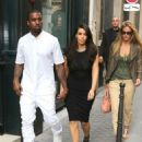 Kim Kardashian and her rapper boyfriend Kanye West are joined by supermodel Bar Refaeli while out during Paris Fashion Week on July 4, 2012 in Paris, France