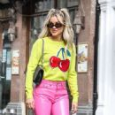 Ashley Roberts – In pink leather pants and yellow leaving the Heart Radio Studios in London - 454 x 529