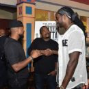 """Recording artist Usher Raymond attends """"Straight Outta Compton"""" VIP screening with director/ producer F. Gary Gray, producer Ice Cube, executive producer Will Packer and cast members at Regal Atlantic Station on July 24, 2015 in Atlanta, Georgia"""