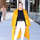 Lana Condor – In a yellow coat posing while out in NYC - 454 x 579