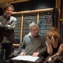 """(Left to right) Director Tim Burton, composer Stephen Sondheim and actress Helena Bonham Carter during rehearsals for """"Sweeney Todd: The Demon Barber of Fleet Street."""" Photo Credit: Leah Gallo. © 2007 by DreamWorks LLC and Warner Bros. Enterta"""