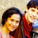 Katie McGrath with the rest of the Merlin cast.