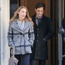 """Blake Lively and Penn Badgley, who turns 24 today, film a scene for """"Gossip Girl"""" with co-star Ed Westwick"""