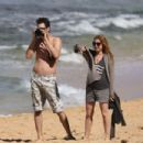 Isla Fisher On The Beach In Hawaii