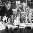 Directors Andrew Stanton and John Lasseter behind the scenes of Walt Disney's A Bug's Life - 1998