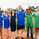 Rachel Smith, Deana Carter, Erin Bess, Stephen Bess, Bret Michaels, and Jonas Baade showed their softball skills for charity at City of Hope's 25th Annual Celebrity Softball Game at the new First Tennessee Park during CMA Music Festival in Nashville.
