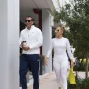 Jennifer Lopez in White Tights with Alex Rodriguez at a Gym in Miami