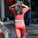 Selena Gomez in Red Tights – Hits the gym in Los Angeles