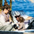 David Bisbal, Elena Tablada and Ella in Santorini
