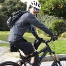 Orlando Bloom and some friends out for a mountain bike ride at Mt. Wilson in Los Angeles, California on February 2, 2013