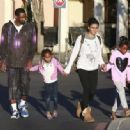 Gilbert Arenas and fiance Laura Govan out shopping with their daughters in Calabasas, California on December 27, 2014