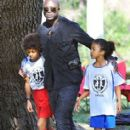Seal is seen watching his kids Leni, Henry and Johan play soccer in Brentwood, California on January 31, 2015 - 413 x 600