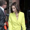 Bella Hadid in Yellow Suit – Leaving her hotel in Paris