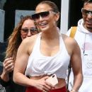 Jennifer Lopez – In red leggings at the gym in Miami
