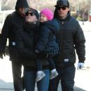 Singer Pink goes for a walk with her husband Carey Hart and their daughter Willow on a chilly morning in New York City, New York on December 12, 2013 - 381 x 594