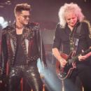 Singer Adam Lambert performs with guitarist Brian May of Queen at Madison Square Garden on July 17, 2014 in New York City