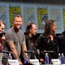 Actor Dane DeHaan and musicians James Hetfield, Lars Ulrich, Kirk Hammett and Robert Trujillo speak onstage at