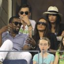 Kanye West, Selita Ebanks, Ed Westwick and Jessica Szohr enjoying the action - and the bar - at the US Open