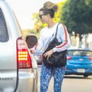 Kate Beckinsale in Floral Tights – Leaves nails salon in Beverly Hills