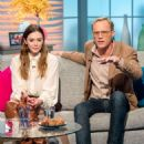 Elizabeth Olsen and Paul Bettany on 'Lorraine' TV show in London - 454 x 581