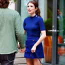 Emma Roberts in royal blue outfit out in New York - 454 x 790