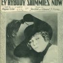 "Mae West...""Ev'rybody Shimmies Now"" sheet music cover with portrait, 1918"