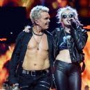 Miley Cyrus & Billy Idol at the 2016 iHeartradio Music Festival - 454 x 570