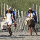 Solange Knowles in Denim Shorts at the Beach in The Hamptons - 454 x 409
