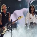 Musician Duff McKagan and singer Alice Cooper of Hollywood Vampires perform onstage during The 58th GRAMMY Awards at Staples Center on February 15, 2016 in Los Angeles, California.