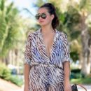 Chloe Goodman – Wears a zebra print jumpsuit out in Dubai - 454 x 648