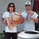 Couple Ed Westwick and Jessica Szohr grab lunch at Jersey Mikes in Hollywood, California on September 1, 2013