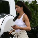 Adriana Lima in Tights Leaves a Gym in Miami